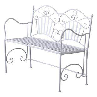 Outsunny Metallbank im schlichten Design weiß 111 x 48 x 91 cm (LxBxH) | 2-Sitzer Bank Gartenbank Sitzbank Parkbank Garten