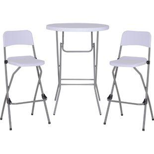 Outsunny Bargruppe als 3-teiliges Set weiß | Barset Bistroset Sitzgruppe Bartisch mit Barhockern