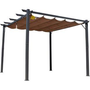 Outsunny Pergola mit Schiebedach kaffeebraun 300 x 300 x 223 cm (LxBXH) | Pavillon Terrassenüberdachung Vordach Sonnenschutz
