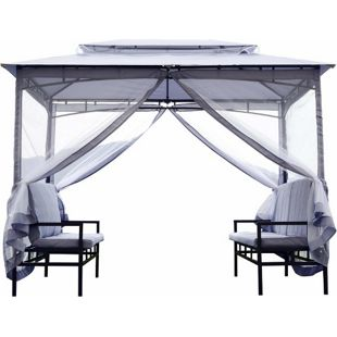 Outsunny Gartenpavillon mit Sitzbank grau 290 x 200 x 245 cm (LxBxH) | Pavillon Partyzelt Luxuspavillon Gartenzelt