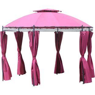 Outsunny Gartenpavillon mit Seitenwänden rosarot, schwarz 350 x 275 cm (ØxH) | Pavillon Festzelt Partyzelt Gartenzelt