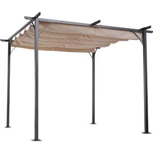 Outsunny Pergola mit Schiebedach per Seilzug schwarz, beige 300 x 300 x 230 cm (LxBxH) | Cabrio-Pavillon Gartenpavillon Terrassenüberdachung
