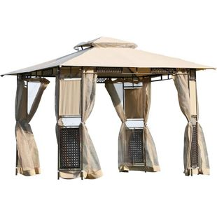 Outsunny Gartenzelt mit Doppeldach beige, braun 300 x 300 x 260 cm (LxBxH) | Pavillon Partyzelt Festzelt Gartenpavillon