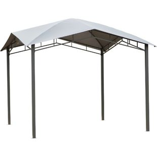 Outsunny Gartenzelt mit geometrischem Laubendach grau, schwarz 300 x 300 x 260 cm (LxBxH)   Pavillon Partyzelt Festzelt Gartenpavillon
