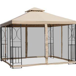 Outsunny Metallpavillon mit Moskitonetz beige 300 x 300 x 278 cm (LxBxH) | Gartenpavillon Gartenzelt Festzelt Partyzelt