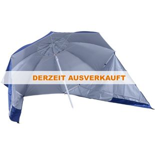 Outsunny Strandschirm und Strandzelt 2 in 1 blau, weiß 210 x 222 cm (ØxH) | Gartenschirm Sonnenschirm Strandmuschel