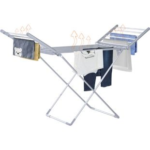HOMCOM Beheizbarer Wäscheständer mit 2 faltbaren Flügeln silber 149 x 54 x 92 cm (LxBxH)   Flügelwäscheständer Wäschegestell faltbar