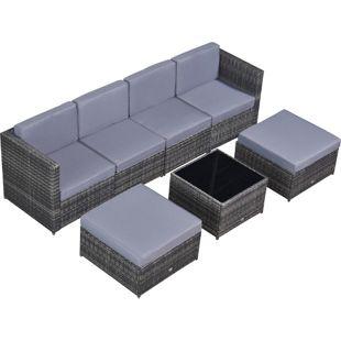 Outsunny Rattan Gartengarnitur als 7-teiliges Set grau   Polyrattan Sitzgruppe Gartenmöbel Loungemöbel