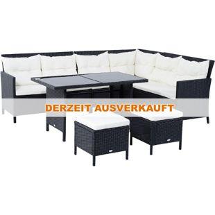 Outsunny Polyrattan Sitzgruppe als 18-teiliges Set schwarz, cremeweiß | Gartenset Sofagarnitur Gartenmöbel Loungeset
