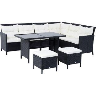 Outsunny Polyrattan Sitzgruppe als 18-teiliges Set schwarz, cremeweiß   Gartenset Sofagarnitur Gartenmöbel Loungeset