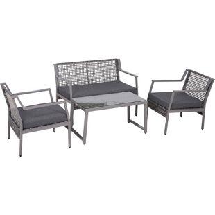 Outsunny Polyrattan Gartengarnitur als 4-teiliges Set grau | Sitzgruppe Loungeset Loungemöbel inkl. Sitzkissen