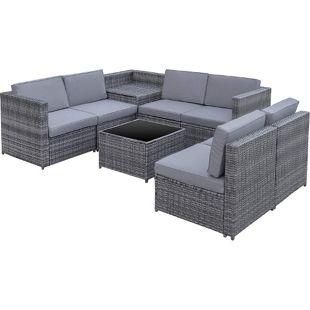 Outsunny Polyrattan Gartengarnitur als 8-teiliges Set grau   Sitzgruppe Loungeset Loungemöbel mit Beistelltisch