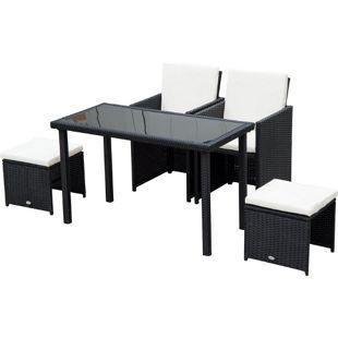 Outsunny Polyrattan Sitzgruppe als 11-teiliges Set schwarz, cremeweiß | Gartenset Gartenmöbel Rattanmöbel Rattanset