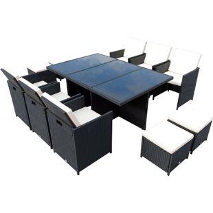 Outsunny Polyrattan Sitzgruppe als 27-tlg. Set schwarz, cremeweiß   Gartenmöbel Garten Garnitur Gartenset Essgruppe