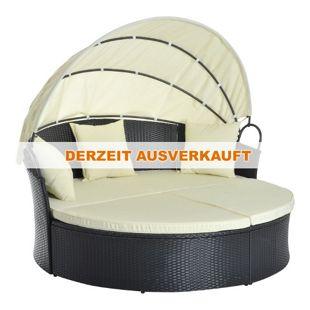 Outsunny Rattan-Sonneninsel inklusive faltbarem Dach schwarz, cremeweiß 171 x 180 x 78/155 cm (LxBxH ohne/mit Dach)   Sonnenliege Gartenliege Loungemöbel Garnitur