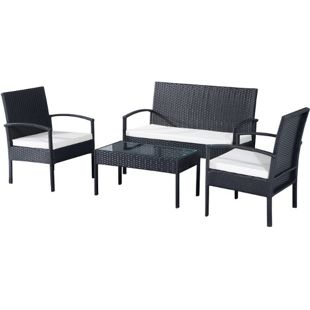 Outsunny Polyrattan Sitzgruppe als 7-teiliges Set schwarz, cremeweiß | Gartenset Gartenmöbel Rattanmöbel Rattanset