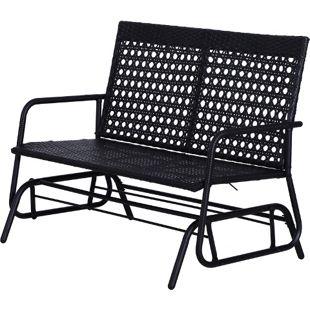 Outsunny Schaukelbank als 2-Sitzer schwarz 120 x 76 x 90 cm (LxBxH) | Gartenbank Polyrattan Bank Sitzbank Parkbank
