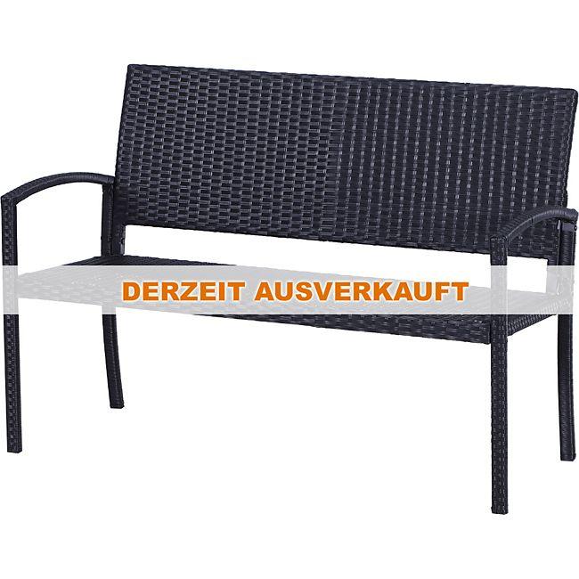 Outsunny Polyrattan Gartenbank Sitzbank 2-Sitzer Stahl Schwarz ...