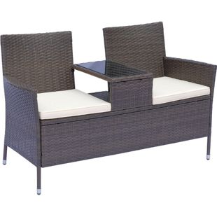 Outsunny Polyrattan Gartenbank 133 x 63 x 84 cm (LxBxH) | Gartensofa Sitzbank mit Tisch 2-Sitzer Rattanmöbel