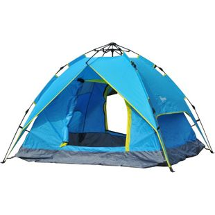 Outsunny Campingzelt für 3-4 Personen blau, gelb 200 x 200 x 135 cm (LxBxH) | Pop Up Zelt Multifunktionszelt Sonnenschutz Zelt