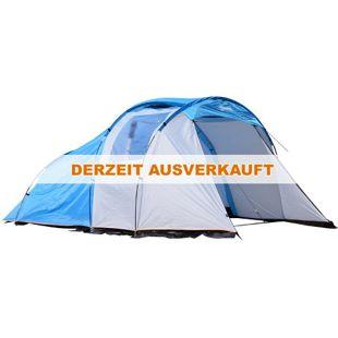 Outsunny Campingzelt für 2-4 Personen blau, weiß 375 x 240 x 150 cm (LxBxH)   Familienzelt Kuppelzelt Strandzelt Schlafkabine
