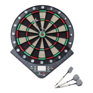 HOMCOM Elektrische Dartscheibe für 1- 8 Spielern schwarz 42 x 3,2 x 49 cm (BxTxH) | Dartboard Dartscheibe Dartpfeile Spiel Board