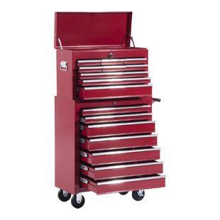 HOMCOM Fahrbarer Werkstattwagen mit 16 Schubladen | Werkzeugwagen Rollwagen Mobiler Werkzeugkasten