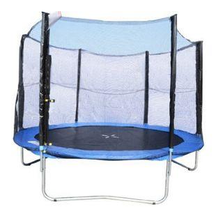 HOMCOM Gartentrampolin mit Sicherheitsnetz blau, schwarz 244 cm (Ø) | Trampolin Tampolin-Komplett-Set Sprungmatte