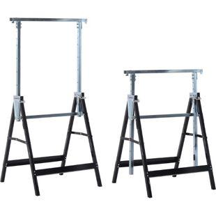 HOMCOM Gerüstbock im 2er Set schwarz 68 x 58 x (80-130) cm (LxBxH) | Unterstellbock Klappbock Stützbock paarweise