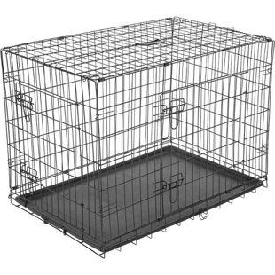 PawHut Transportkäfig für Kleintiere schwarz 76 x 53 x 57 cm (LxBxH) | Hundebox Hundekäfig Hunde Transportbox Reisebox