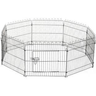 PawHut Freilaufgehege für Hasen, Kaninchen und Hundewelpen schwarz | Welpenauslauf Gehege Welpenzaun Laufstall