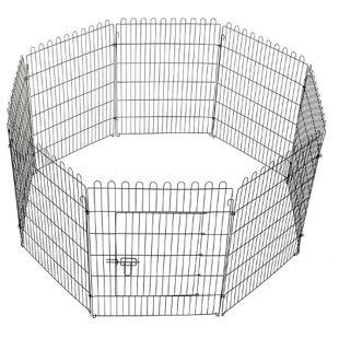 PawHut Freilaufgehege für Hasen/Kaninchen schwarz | Welpenzaun Welpengitter Laufstall Welpenauslauf
