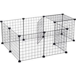 PawHut Freigehege mit Metallgitter schwarz 106 x 73 x 36 cm (LxBxH) | Laufgehege Laufstall Kleintierkäfig Auslaufgehege