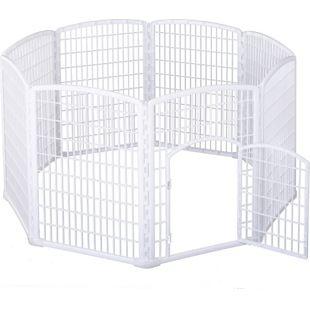 PawHut Freilaufgehege für Haustiere weiß 180 x 95 cm (ØxH) | Welpenzaun Welpenauslauf Laufstall Welpengitter