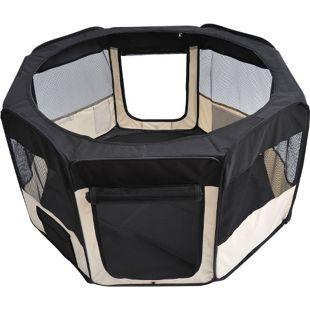 PawHut Welpenauslauf faltbar schwarz, cremig-weiß 125 x 125 x 58 cm (LxBxH) | Freilaufgehege Laufstall Welpenzaun Tierlaufstall