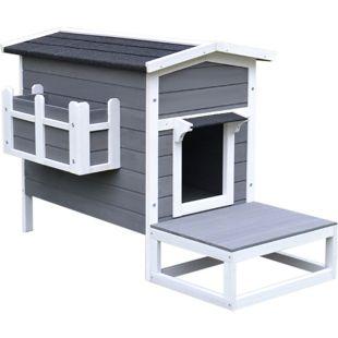 PawHut Katzenhaus mit Terrasse und Balkon grau, weiß 115 x 66,5 x 74,7 cm (LxBxH) | Katzenhütte Katzenhöhle Kleintierhaus für Hunde