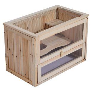 PawHut Nagerkäfig mit aufklappbarem Dach natur 60 x 35 x 42 cm (LxBxH) | Hamsterkäfig Mäusekäfig Chinchillakäfig Kleintier