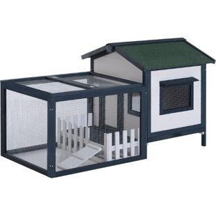 PawHut Meerschweinchenstall mit Freigehege grün, weiß 151 x 78 x 84 cm (LxBxH) | Hasenstall Hasenkäfig Kaninchenkäfig Kleintierstall