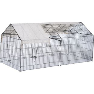 PawHut Freilaufgehege mit Sonnenschutz schwarz, beige 220 x 103 x 103 cm (LxBxH) | Freigehege Kaninchenstall Freilauf Hasenkäfig