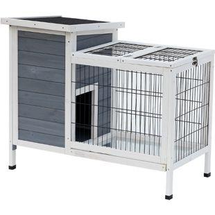PawHut Hasenstall mit Freilaufgehege grau, weiß 91,5 x 54,8 x 76 cm (LxBxH) | Hasenkäfig Kleintier Stall Meerschweinchenstall