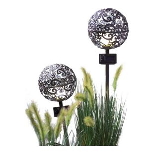 Solarleuchten-Set Ornament-Kugel, 2-teilig