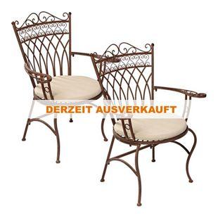 Gartenstuhl-Set aus Metall, antik-braun, 2-teilig