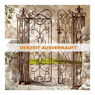Gartentor aus Metall, antik-braun, mit zwei Türen