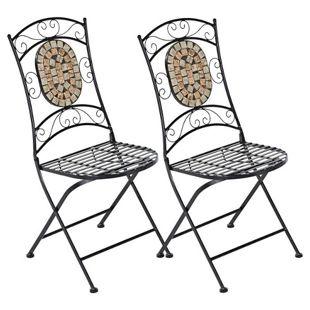 Gartenstuhl-Set aus Metall mit Mosaik Steinen, 2-teilig