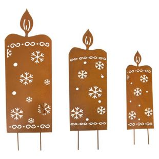 LED Gartenstecker Kerzen, 3-tlg
