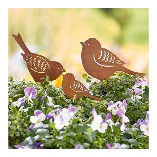 Gartenstecker-Set Rost, 3-tlg. Vogelfamilie