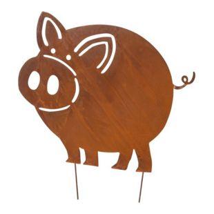 Gartenstecker Rost Schwein Leon