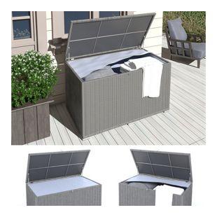 XXL Kissenbox wasserdicht Polyrattan 950L Anthrazit Auflagenbox Gartenbox Gartentruhe Aufbewahrungsb