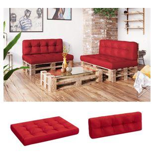 Vicco Palettenkissen-Set Sitzkissen Rückenkissen 15cm hoch Palettenmöbel Flocke rot