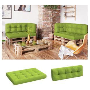 Vicco Palettenkissen-Set Sitzkissen Rückenkissen 15cm hoch Palettenmöbel Flocke grün